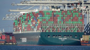 Huge container ship, Ever Green, loaded with containers.