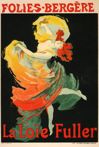 Loie Fuller appears in the film Radioactive. A reoccurring theme of light within the film. (Wiki image)