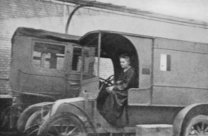 Madame Marie Curie and one of the Petite Curies on the Western Front. (Wiki Image)