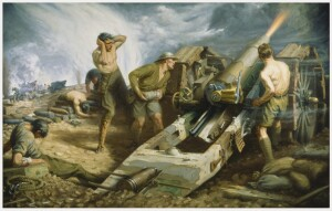 Canadian Artillery in Action by Kenneth Forbes. Beaverbrook Collection of War Art, Canadian War Museum (Wiki Image)